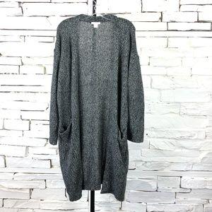 H&M Long Open Sweater Pockets Heather Gray 1045